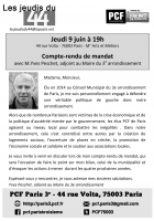 9 juin à 19h : Compte-rendu de mandat d'Yves Peschet, adjoint au Maire du 3e