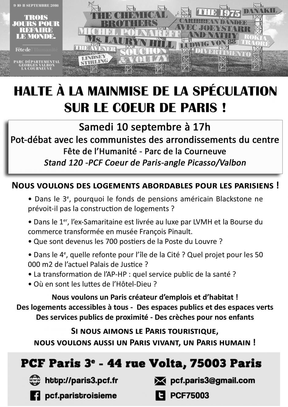 Fête de l'Huma : samedi 10 septembre à 17h, débat sur le logement à Paris sur notre stand